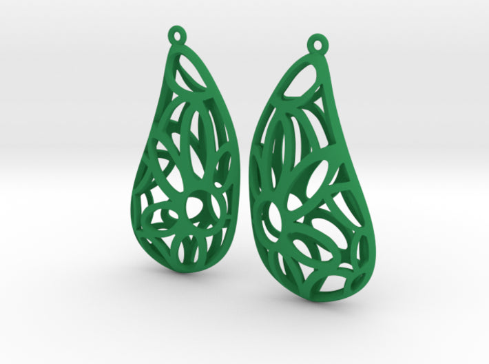 Floral Puffed Earrings 3d printed