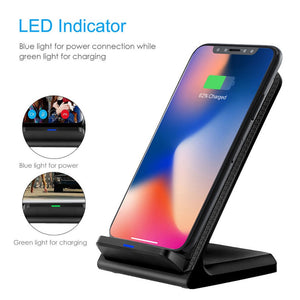 Leather Standing Wireless Charging Pad (For Samsung, iPhone, And Android)