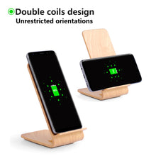 Load image into Gallery viewer, Wood Grain Standing Wireless Charger With Fast Charge (For Samsung, iPhone, And Android)