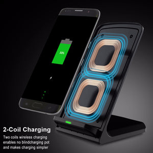 Standing Wireless Charger With Fast Charge (For Samsung, iPhone, And Android)