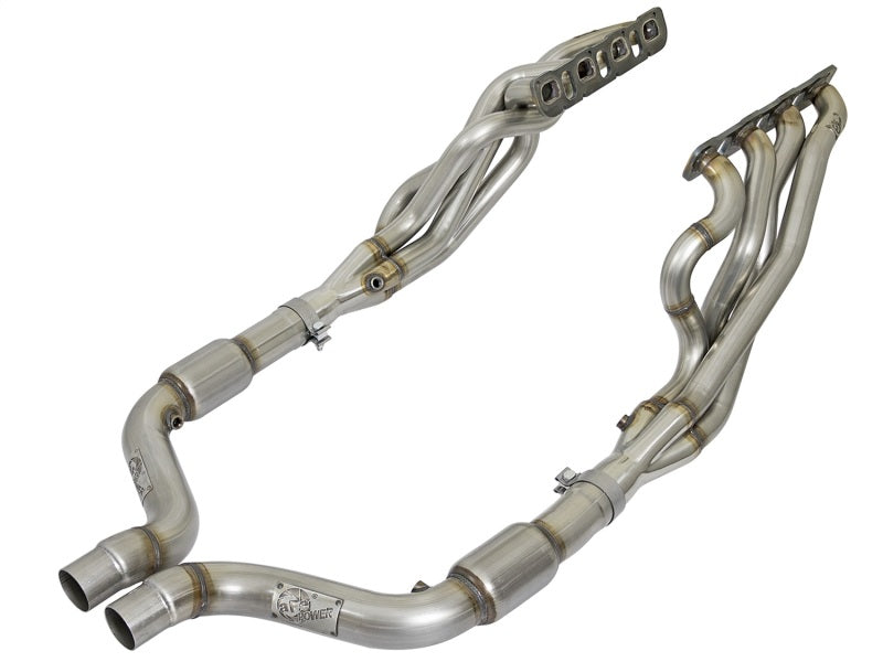 aFe 2in Twisted Steel Long Tube Header w/ Connection Pipe Catted 15-17 Challenger/Charger