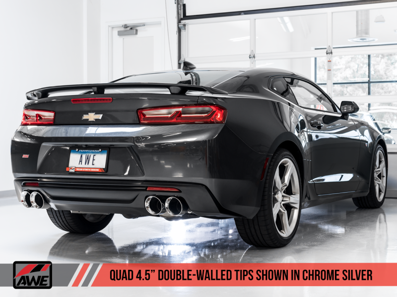 AWE Tuning 16-19 Chevrolet Camaro SS Axle-back Exhaust - Track Edition (Quad Chrome Silver Tips)