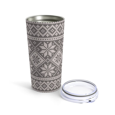 Gray Norwegian Ski Sweater Print 20 oz Insulated Tumbler 20oz - Scandinavian Design Studio