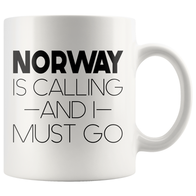 Norway Is Calling And I Must Go Coffee Mug white - Scandinavian Design Studio