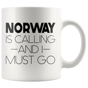 Norway Is Calling And I Must Go Coffee Mug - Scandinavian Design Studio