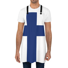 Load image into Gallery viewer, Finnish Flag Apron - Scandinavian Design Studio