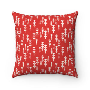 Red and White Trees Square Pillow Case