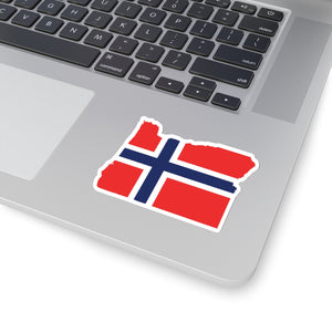Oregon Norwegian Flag Sticker - Scandinavian Design Studio