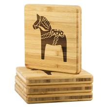 Load image into Gallery viewer, Dala Horse Bamboo Coaster Set - Scandinavian Design Studio