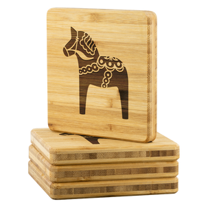 Dala Horse Bamboo Coaster Set - Scandinavian Design Studio