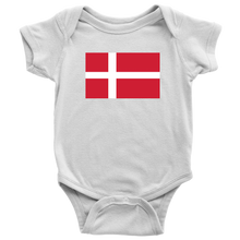 Load image into Gallery viewer, Danish Flag Baby Bodysuit Baby Bodysuit / White / NB - Scandinavian Design Studio