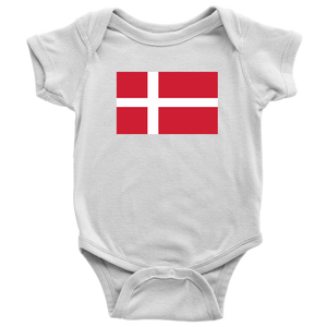 Danish Flag Baby Bodysuit Baby Bodysuit / White / NB - Scandinavian Design Studio