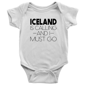 Iceland Is Calling And I Must Go Baby Bodysuit Baby Bodysuit / White / NB - Scandinavian Design Studio