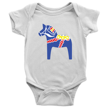 Load image into Gallery viewer, Traditional Dala Horse Baby Bodysuit Baby Bodysuit / White / NB - Scandinavian Design Studio