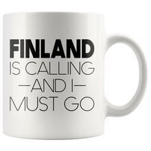 Load image into Gallery viewer, Finland Is Calling And I Must Go Coffee Mug White - Scandinavian Design Studio