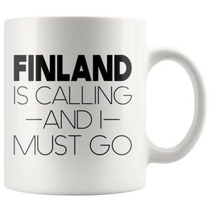Finland Is Calling And I Must Go Coffee Mug White - Scandinavian Design Studio