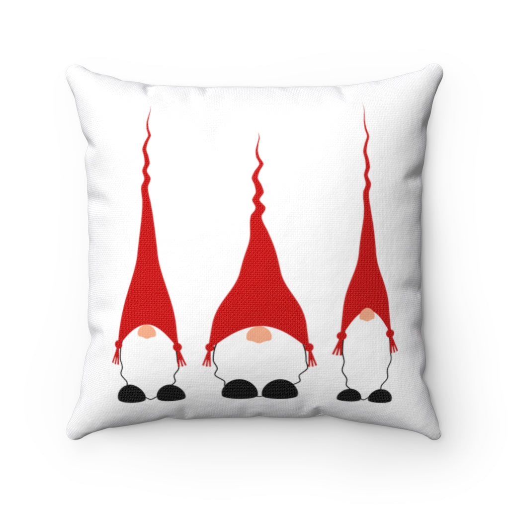 Red Scandinavian Gnomes Square Pillow Case
