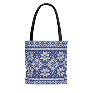 Blue Norwegian Ski Sweater Print Tote Bag