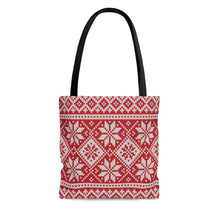 Load image into Gallery viewer, Red Norwegian Ski Sweater Print Tote Bag