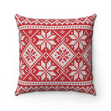 Load image into Gallery viewer, Red Norwegian Ski Sweater Print Pillow Case