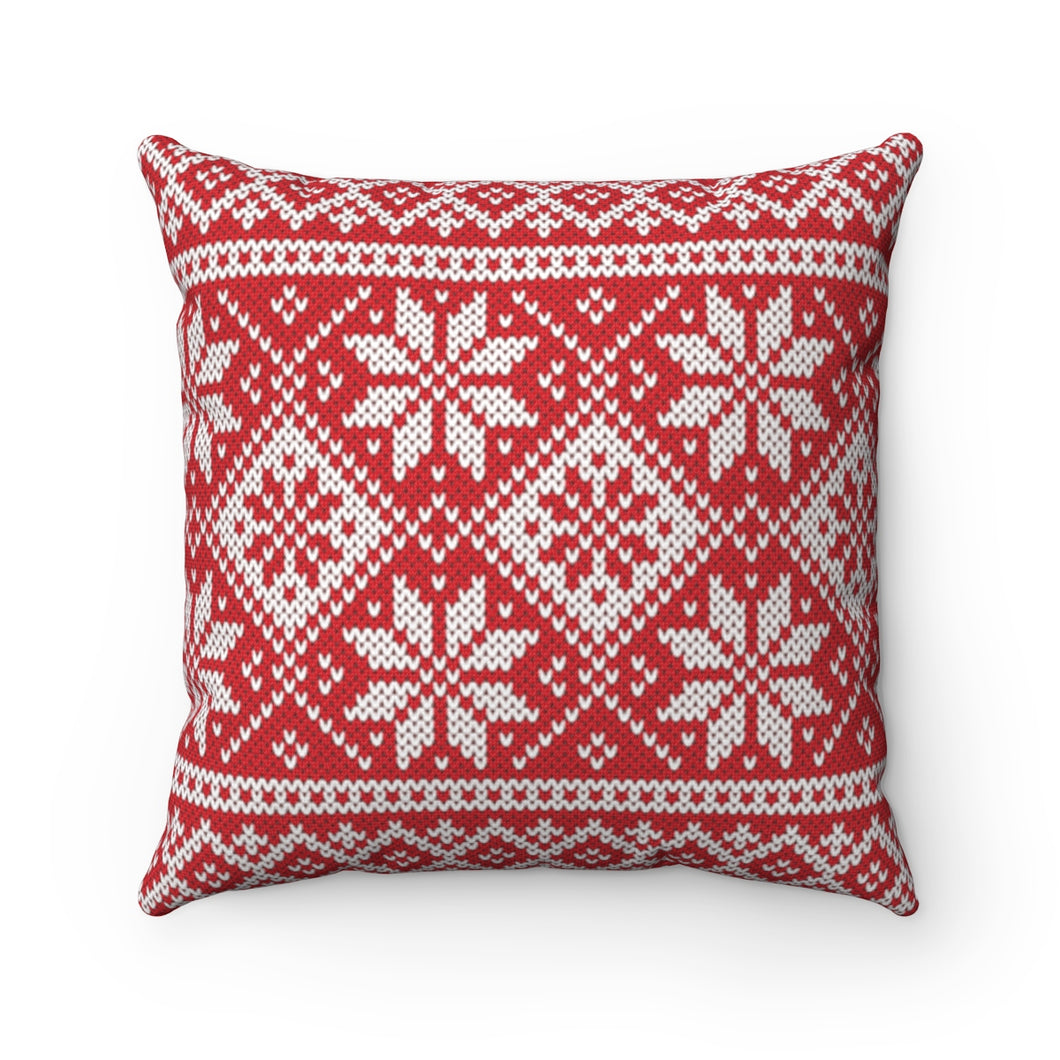 Red Norwegian Ski Sweater Print Pillow Case