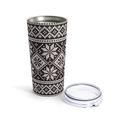 Black Norwegian Ski Sweater Print 20 oz Insulated Tumbler 20oz - Scandinavian Design Studio
