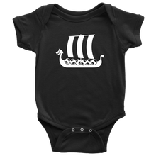 Load image into Gallery viewer, Viking Ship Baby Bodysuit Baby Bodysuit / Black / NB - Scandinavian Design Studio