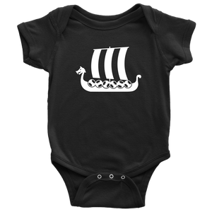 Viking Ship Baby Bodysuit Baby Bodysuit / Black / NB - Scandinavian Design Studio