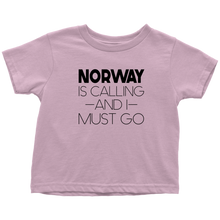Load image into Gallery viewer, Norway Is Calling And I Must Go Toddler Tee Toddler T-Shirt / Pink / 2T - Scandinavian Design Studio