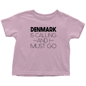 Denmark Is Calling And I Must Go Toddler Tee Toddler T-Shirt / Pink / 2T - Scandinavian Design Studio