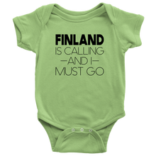 Load image into Gallery viewer, Finland Is Calling And I Must Go Baby Bodysuit Baby Bodysuit / Keylime / NB - Scandinavian Design Studio
