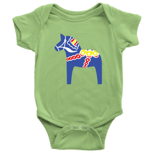 Load image into Gallery viewer, Traditional Dala Horse Baby Bodysuit Baby Bodysuit / Keylime / NB - Scandinavian Design Studio