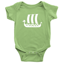 Load image into Gallery viewer, Viking Ship Baby Bodysuit Baby Bodysuit / Keylime / NB - Scandinavian Design Studio