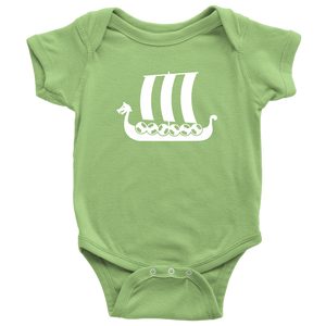Viking Ship Baby Bodysuit Baby Bodysuit / Keylime / NB - Scandinavian Design Studio