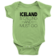 Load image into Gallery viewer, Iceland Is Calling And I Must Go Baby Bodysuit Baby Bodysuit / Keylime / NB - Scandinavian Design Studio