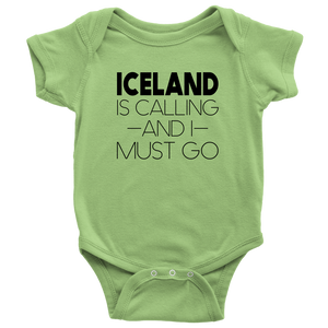 Iceland Is Calling And I Must Go Baby Bodysuit Baby Bodysuit / Keylime / NB - Scandinavian Design Studio