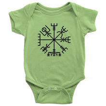 Load image into Gallery viewer, Viking Compass Baby Bodysuit Baby Bodysuit / Keylime / NB - Scandinavian Design Studio