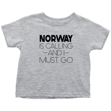 Load image into Gallery viewer, Norway Is Calling And I Must Go Toddler Tee Toddler T-Shirt / Heather Grey / 2T - Scandinavian Design Studio