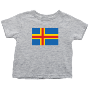 Åland Flag Toddler Tee Toddler T-Shirt / Heather Grey / 2T - Scandinavian Design Studio