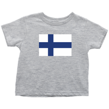 Load image into Gallery viewer, Finnish Flag Toddler Tee Toddler T-Shirt / Heather Grey / 2T - Scandinavian Design Studio