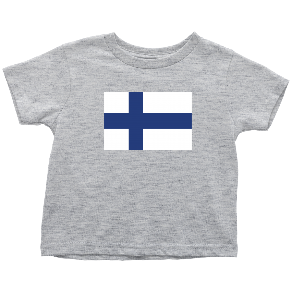 Finnish Flag Toddler Tee Toddler T-Shirt / Heather Grey / 2T - Scandinavian Design Studio