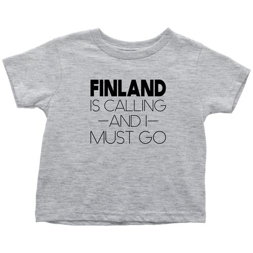 Finland Is Calling And I Must Go Toddler Tee Toddler T-Shirt / Heather Grey / 2T - Scandinavian Design Studio