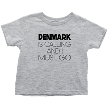Load image into Gallery viewer, Denmark Is Calling And I Must Go Toddler Tee Toddler T-Shirt / Heather Grey / 2T - Scandinavian Design Studio