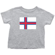 Load image into Gallery viewer, Faroese Flag Toddler Tee Toddler T-Shirt / Heather Grey / 2T - Scandinavian Design Studio