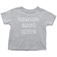 Load image into Gallery viewer, Norwegians Against Lutefisk Toddler Tee Toddler T-Shirt / Heather Grey / 2T - Scandinavian Design Studio
