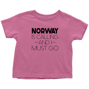 Norway Is Calling And I Must Go Toddler Tee Toddler T-Shirt / Raspberry / 2T - Scandinavian Design Studio