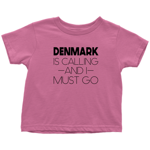 Denmark Is Calling And I Must Go Toddler Tee Toddler T-Shirt / Raspberry / 2T - Scandinavian Design Studio