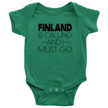 Load image into Gallery viewer, Finland Is Calling And I Must Go Baby Bodysuit Baby Bodysuit / Kelly / NB - Scandinavian Design Studio
