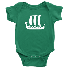 Load image into Gallery viewer, Viking Ship Baby Bodysuit Baby Bodysuit / Kelly / NB - Scandinavian Design Studio