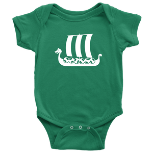 Viking Ship Baby Bodysuit Baby Bodysuit / Kelly / NB - Scandinavian Design Studio